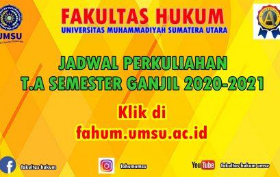 JADWAL KULIAH T.A. SEMESTER GANJIL 2020-2021