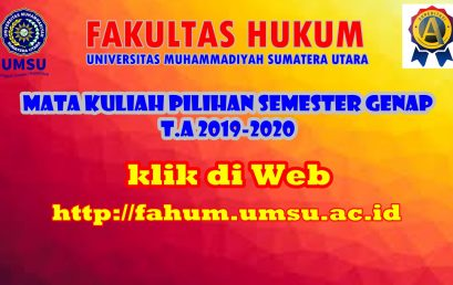MATA KULIAH PILIHAN SEMESTER GENAP T.A 2019-2020