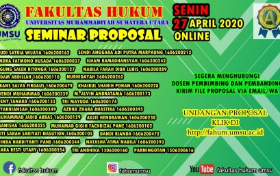 UNDANGAN SEMINAR PROPOSAL SENIN, 27 APRIL 2020 ONLINE