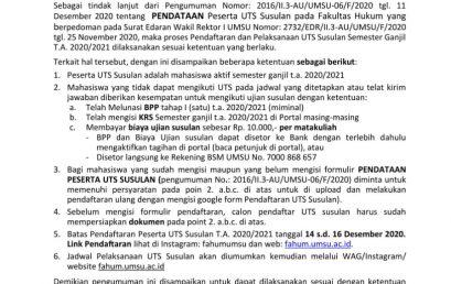 PENDAFTARAN DAN PELAKSANAAN UTS SUSULAN SEMESTER GANJIL T.A 2020/2021