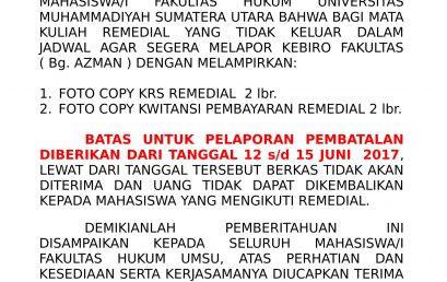 Info Pembatalan Mata Kuliah Remedial