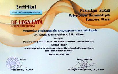 Sertifikat Penghargaan De Lega Lata