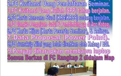 Syarat Pendaftaran Seminar Proposal Skripsi