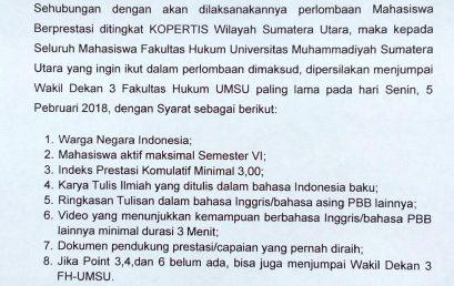 Pengumuman Calon Mahasiswa Berprestasi T.A. 2017-2018