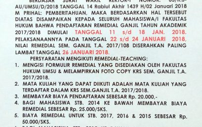 Pengumuman Remedial Semester Ganjil T.A 2017-2018
