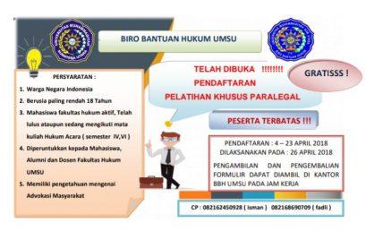 Pelatihan Khusus Paralegal BBH UMSU