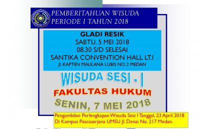 PEMBERITAHUAN WISUDA PERIODE I TAHUN 2018