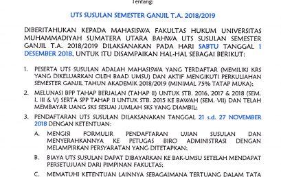 UJIAN SUSULAN UTS GANJIL TA. 2018-2019