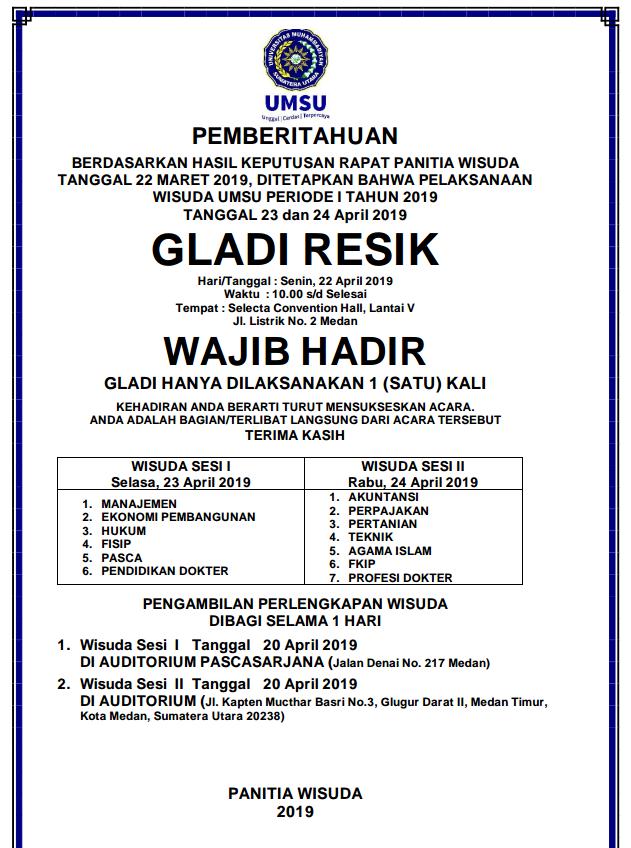 Wisuda Gladi Resik Umsu Periode I Tahun 2019 Fakultas Hukum