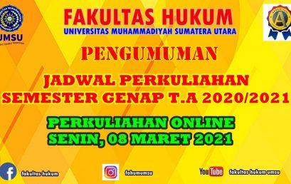 JADWAL PERKULIAHAN SEMESTER GENAP T.A 2020/2021