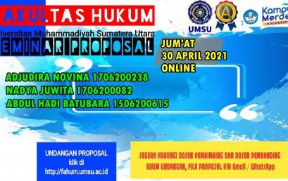 UNDANGAN SEMINAR PROPOSAL JUM'AT, 30 APRIL 2021 ONLINE